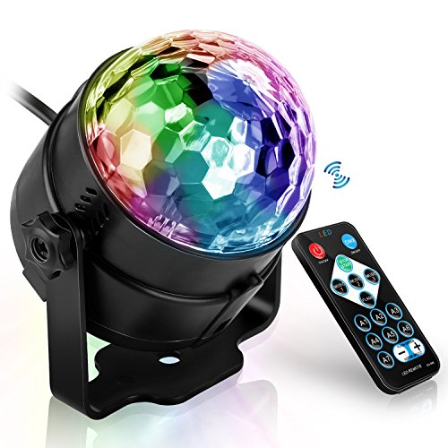 Active Remote (LED Party Lights | Crystal Magic Ball lighting for Birthday, Christmas, Disco, Dance, Home Party | Atmosphere and Mood Lamp with Sound Active and Remote by Belpink (Small(3.3'')))