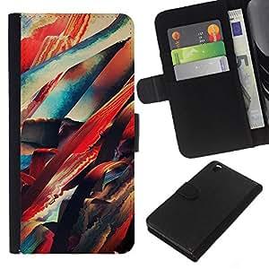 LECELL--Cuero de la tarjeta la carpeta del tirón Smartphone Slots Protección Holder For HTC DESIRE 816 -- Pintura abstracta de neón --
