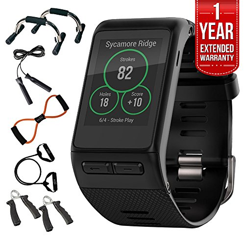 Garmin (010-01605-03) vivoactive HR GPS Smartwatch, Regular Fit - Black w/ Fitness Bundle Includes, 7-in-1 Total Resistance Fitness Kit + 1 Year Extended Warranty by Beach Camera