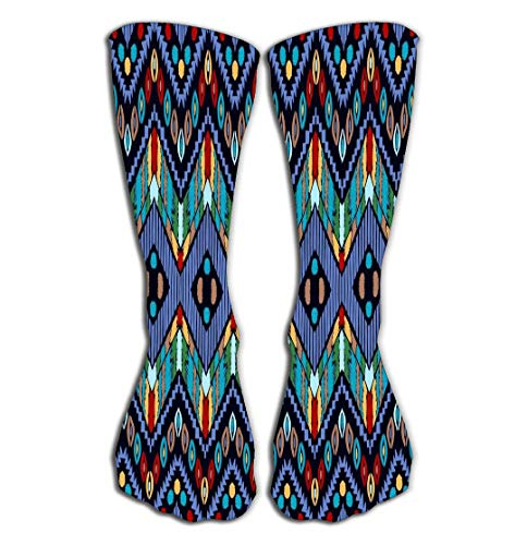 Xunulyn Outdoor Sports Men Women High Socks Stocking Tribal Ornament African Pattern Ethnic Carpet Chevrons Aztec Style Geometric Mosaic Tile Majolica Tile Length 19.7