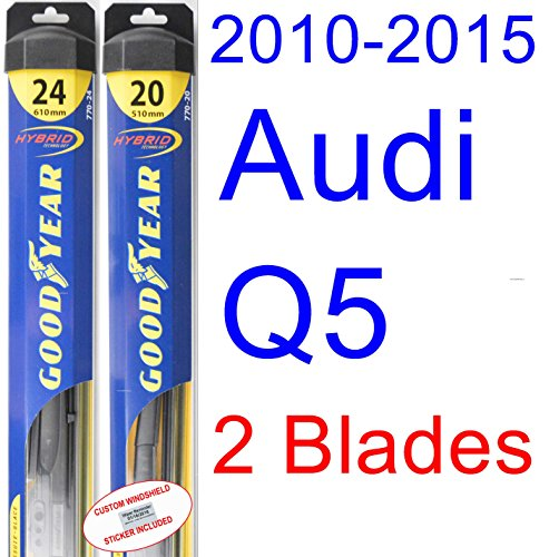2010-2015 Audi Q5 Replacement Wiper Blade Set/Kit (Set of 2 Blades) (Goodyear Wiper Blades-Hybrid) (2011,2012,2013,2014)