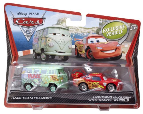 Disney/Pixar Cars 2 Die-Cast Race Team Fillmore and Lightning McQueen with Travel Wheels 2-Pack 1:55 Scale ()