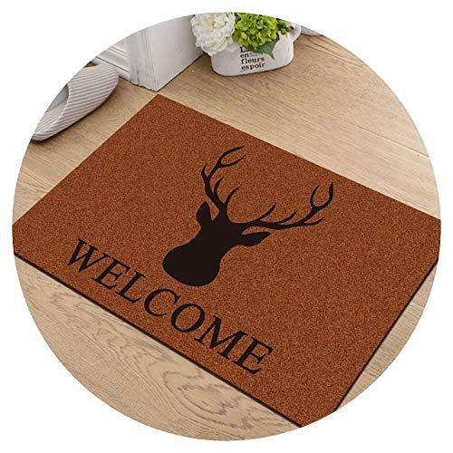 (Modern Welcome Home Anti Slip Doormat Carpet for Entrance Entry Front Door Mat Outdoor Indoor Funny Kitchen Floor Mat Rug,elk Welcome,60x90cm)