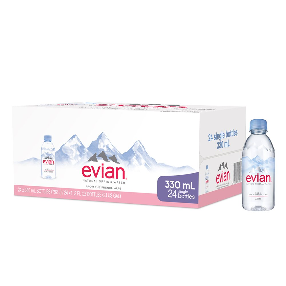 evian Natural Spring Water One Case of 24 Individual 330 ml (11.2  Fl. Oz.) Mini-Bottles, Naturally Filtered Spring Water Small Water Bottles