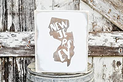 MINI New Jersey Rustic Wood Signs - Whitewash State Signs - Home State Decor - Personalized State Sign 6x7in