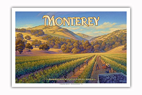 Pacifica Island Art Monterey Wineries - Central Coast AVA Vineyards - California Wine Country Art by Kerne Erickson - Master Art Print - 12in x 18in