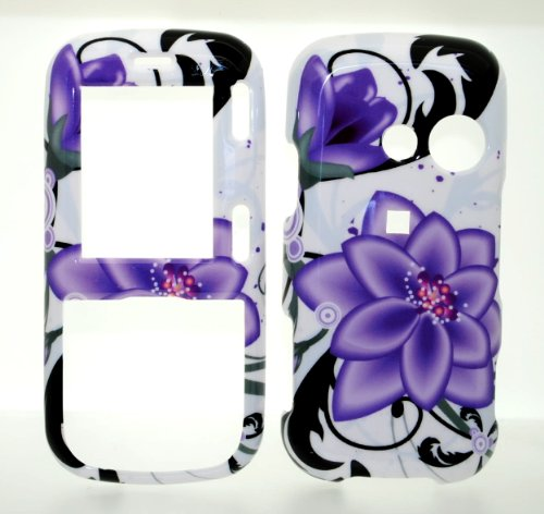Violet Flower Snap on Hard Skin Shell Protector Cover Case for LG RUMOR 2 LX265 / LG COSMOS VN250 + Microfiber Pouch Bag (Lg Cosmos Vn250 Case compare prices)