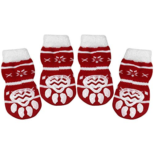 BESUNTEK Dog Socks Non-Slip Pet Socks with Rubber Reinforcement Knit Socks for Dogs with Traction Soles Dog Paw Protector for Indoor Wear,4PCS (S, Red and White)