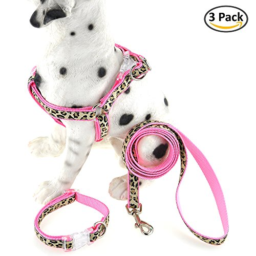 Collar Pink Leopard - Mile High Life Dog Collar, Harness and Leash | Pink Leopard Design | Small | Perfect Accessory For Walking Your Dog