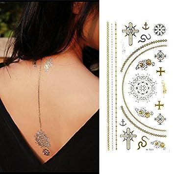 Amazoncom Oottati Assorted Metallic Temporary Tattoo Gold Silver