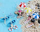 Bombom Tree 22 Pcs Beach Style Miniature Ornament Kits Set for DIY Fairy Garden Dollhouse Decoration, Blue Sand/Cute Girls/Beach Chair/Boat/Oars/Beach Umbrellas/Swimming RingLift Buoy/Starfish