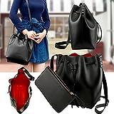 New Women Ladies Shoulder Bag Tote Satchel Hobo Crossbody Handbag Faux Leather - Black