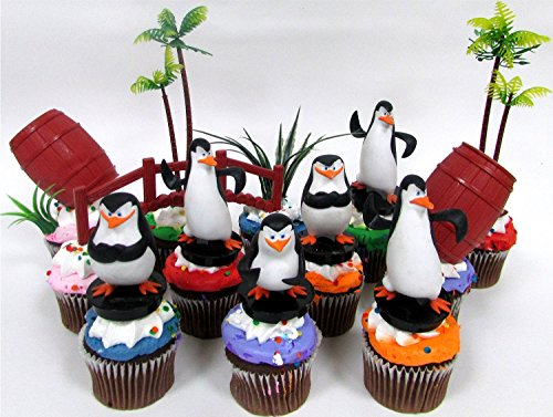 PENGUINS OF MADAGASCAR 12 Piece Birthday CUPCAKE Topper Set, Featuring 6 Random Penguin Figures and Decorative Themed Accessories - Figures Average 2