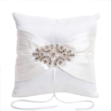 Blanco elegante anillos de boda almohada con diamantes de imitación y perlas de cadena de decoración