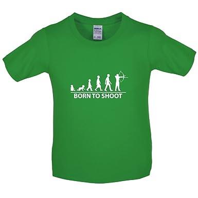 Born To Shoot - Bogenschießen - Kinder T-Shirt - Irisch Grün - L (