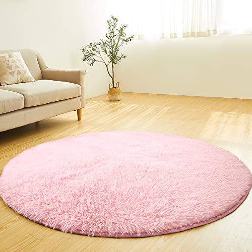 (LOCHAS Round Area Rugs Super Soft Girls Rug Living Room Bedroom Home Shaggy Carpet 4-Feet (Pink))