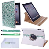 *BLING* 360 Rotating iPad 4 / iPad 3 / iPad 2 White Leather Case with Sparkling Crystals / One *BLING* Stylus / One Stylus – ECO-FUSED® Microfiber Cleaning Cloth 5.5×3.0″ included – compatible with iPad 4, iPad 3 and iPad 2 (Green)