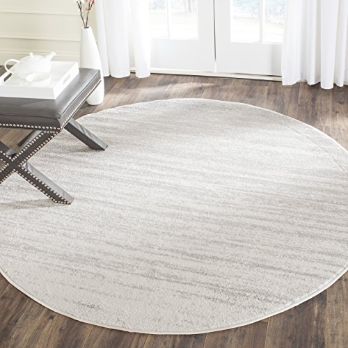 Safavieh Adirondack Collection ADR113B Ivory and Silver Modern Abstract Round Area Rug (4' Diameter) (Rounds Rugs)