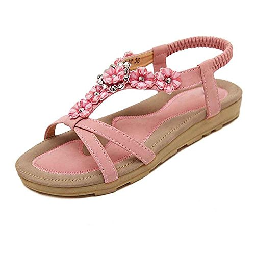 Scarpe Sandals Strass 35 Bohemian 42 Sweet da Summer Donna Flats Casual Flowers Rosa Sandalias Flat Huateng Plus Size Womens pwfqf