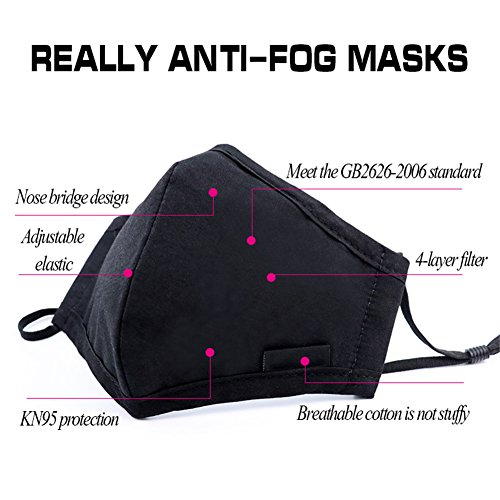 ZWZCYZ N95 Mask Dust Mask Anti Pollution Mask PM2.5 4 Layer Activated Carbon Filter Insert Can Be Washed Reusable Pollen Masks Cotton Mouth Mask for Men Women (Medium(Women's), Black) by ZWZCYZ (Image #3)