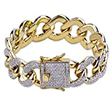 TOPGRILLZ Hip Hop 14K Gold Plated 18mm Iced Out CZ Cluster Simulated Diamond Cuban Miami Link Bracelet
