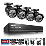 Sannce 8CH 720P CCTV DVR Recorder w/ 4HD 1.0Mega-Pixels Surveillance Camera System (Superior Night Vision, IP66 Weatherproof Metal Housing, No HDD)