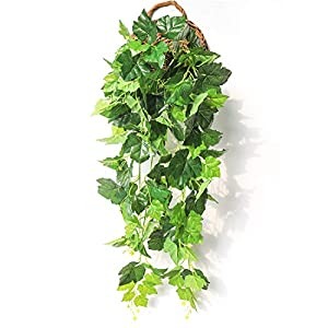JUSTOYOU 5Pcs 44Ft Ivy Garland Artificial Plants Vines Hanging Greenery Fake Leaves Flower for Wedding Outside Party Home Decor, 75