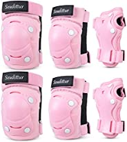 Soudittur Kids Protective Gear Set with Knee Pads Elbow Pads Wrist Guards for Outdoor Sports Skateboarding Inl
