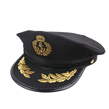 eb0f1c7296016 Amazon.com  Captain Hat Skipper Sailors Navy Boating Military Marine  Admiral Hat Cap Costume Accessory Party Fancy Dress  Toys   Games