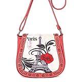 Ladies Messenger Bag Romantic Paris Rose Print Shoulder Bag Valentine's Day Gift for Love Zulmaliu (Pink, 1PC)
