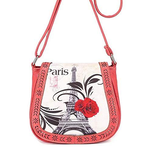 Ladies Messenger Bag Romantic Paris Rose Print Shoulder Bag Valentine's Day Gift for Love Zulmaliu (Pink, 1PC) by Zulmaliu-Bags (Image #1)