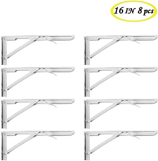 "14/"" Stainless Steel Collapsibl Max Load:400Lb Heavy Duty Folding Shelf Brackets"