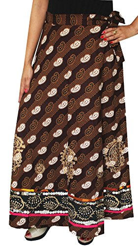 Womens Block Printed Cotton Indian Wrap Skirt Maxi Long India Clothes (Brown) - Hand Block Printed Cotton Skirt