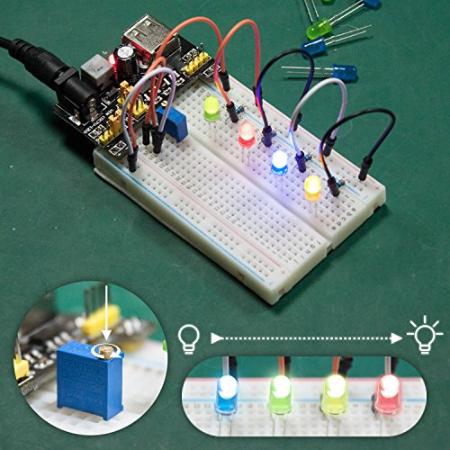 Smraza Basic Starter Kit with Breadboard,Power Supply,Jumper Wires,Resistors,LED for Arduino UNO R3,Mega2560,Nano,Raspberry Pi by Smraza (Image #3)