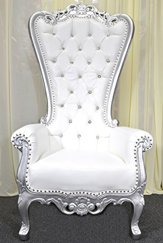 Silver Baroque Hand Carved Throne Chair With White Vinyl & Crystal Buttoning ()