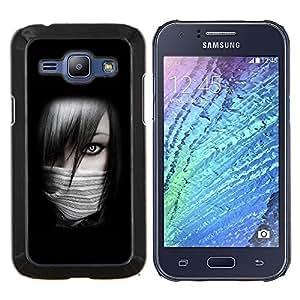 KLONGSHOP // Cubierta de piel con cierre a presión Shell trasero duro de goma Protección Caso - Chica Sexy Ninja - Samsung Galaxy J1 J100 //