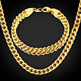 GDSTAR Gold Chain Set Thick Cuban Stainless Steel Bracelets Gift 18K Gold Plated Men's Punk Jewelry Set