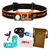 OLIGHT H1R Nova 600 Lumens Rechargeable LED Headlamp w/ 2x RCR123A Batteries, Magnetic USB Charging Cable, and LumenTac Battery Organizer (Orange, Cool White)