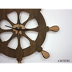 Ship's Wheel - Wooden Wall Clock