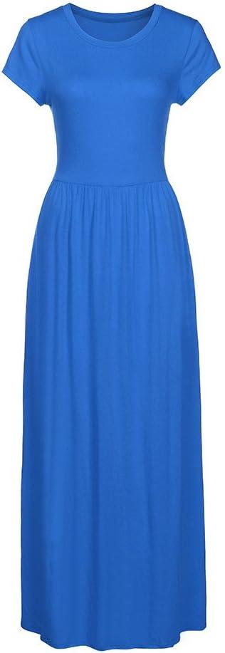 XXL, Blue Hemlock Floor Length Long Dress Women Short Sleeves O Neck Boho Sundress Party Maxi Dress