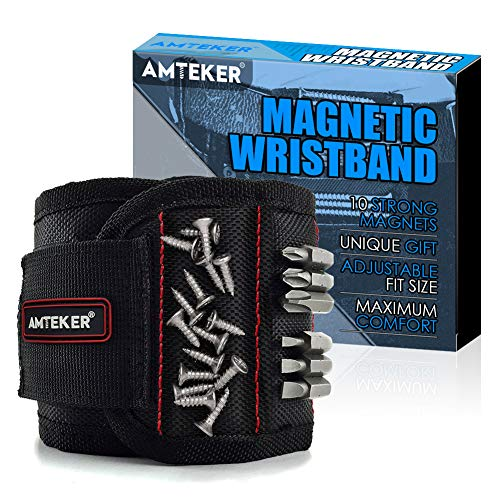 Amteker Magnetic Wristband, Cool Gadgets for Men, Gifts for Men or Dad, Magnetic Wristband for holding tools, Screws, Nails, Drilling Bits and Small Tools, Best Man Gifts