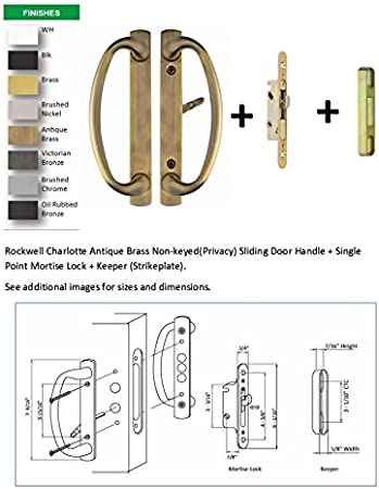 fits up to 1-3//4 inch thick doors, Rockwell Charlotte Sliding Door Handle Set with 3-15//16 CTC Screwholes in Brushed Stainless Finish with Mortise Lock and Keeper