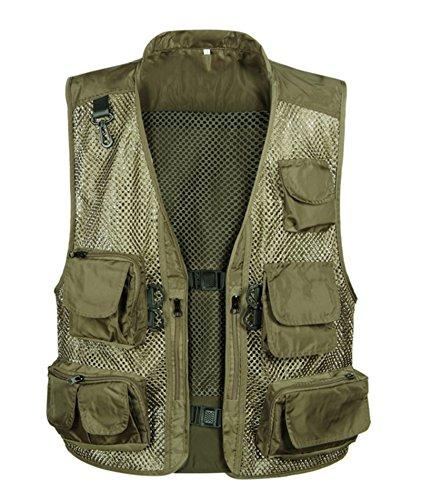 (IyMoo Men Multifunctional Multi Pocket Camouflage Photography Fishing Mesh Vest Outdoor Quick-Drying Jacket Waistcoat Light Army Green US M/Label XL)