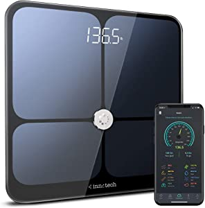 Innotech Smart Bluetooth Body Fat Scale Digital Bathroom Weight Weighing Scales Body Composition BMI Analyzer & Health Monitor with Free APP, Compatible with Fitbit, Apple Health & Google Fit