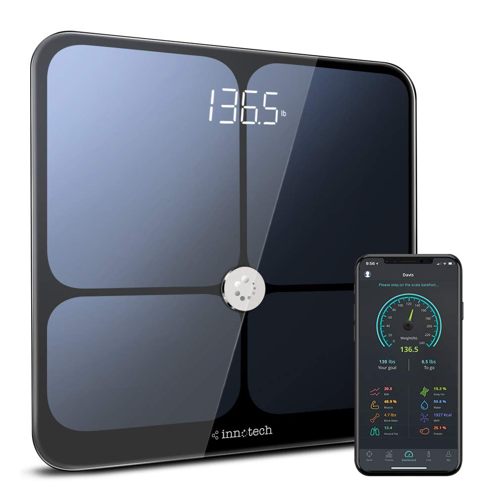 Innotech Smart Bluetooth Body Fat Scale Digital Bathroom Weight Weighing Scales Body Composition BMI Analyzer & Health Monitor with Free APP, Compatible with Fitbit, Apple Health & Google Fit by Innotech (Image #1)