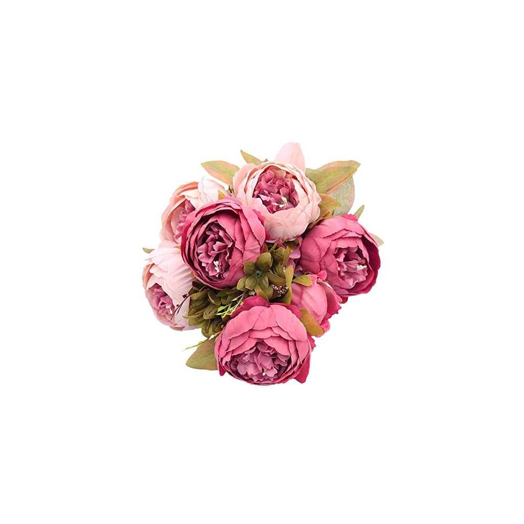 Mcupper Artificial Flowers Vintage Fake Silk Peony Flowers Wedding Bush Bouquet Flower Arrangement for Home Decor Party Floral Wreath Centerpieces Decoration and DIY (Dark Pink)