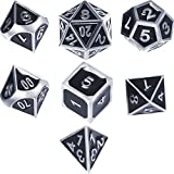 TecUnite Zinc Alloy Shiny Silver with Black Enamel Metal Polyhedral 7-Die Dice Set Metal Role Playing Game Dice Set for Dungeons and Dragons, RPG Dice Gaming, D&D, Math Teaching