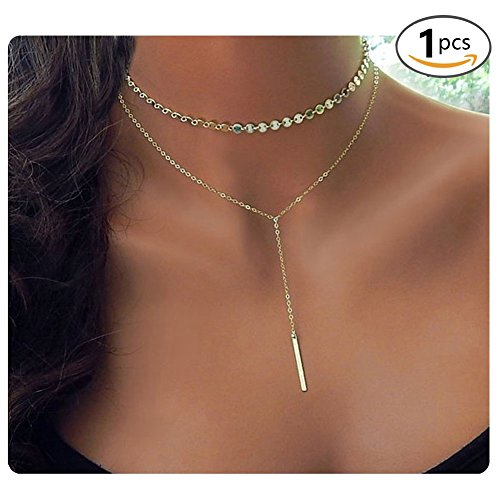 Culovity Exquisite Bar Pendant Layered Sequins Choker Necklaces Lariat Chain Jewelry for Women Goldtone (Bar Drop Necklace)