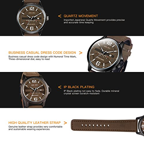 KONXIDO Men's Business Quartz Watch, Casual Fashion Analog Wrist watch Classic Date and Week Window, Waterproof 30M Water Resistant Comfortable Genuine Leather Strap Watches Coffee by KONXIDO (Image #4)