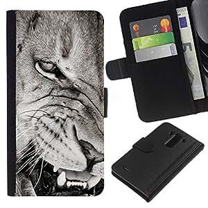 EJOY---La carpeta del tirón la caja de cuero de alta calidad de la PU Caso protector / LG G3 / --Dientes de león Angry Negro nariz blanca